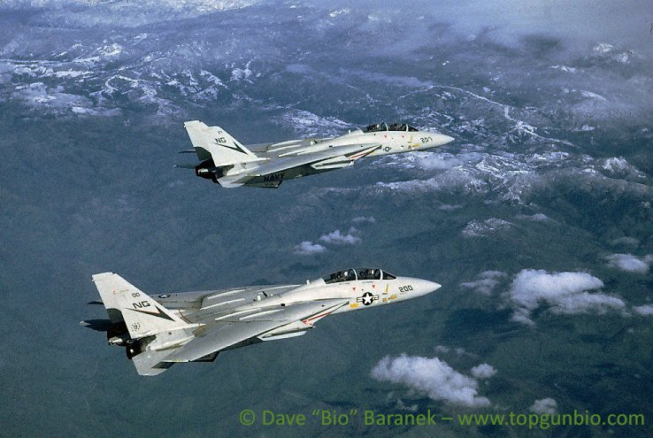 2 F-14 tomcats above mountainous terrain